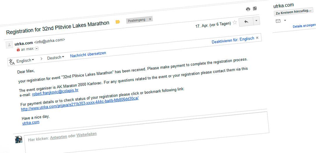 Anmeldung Plitvički Maraton