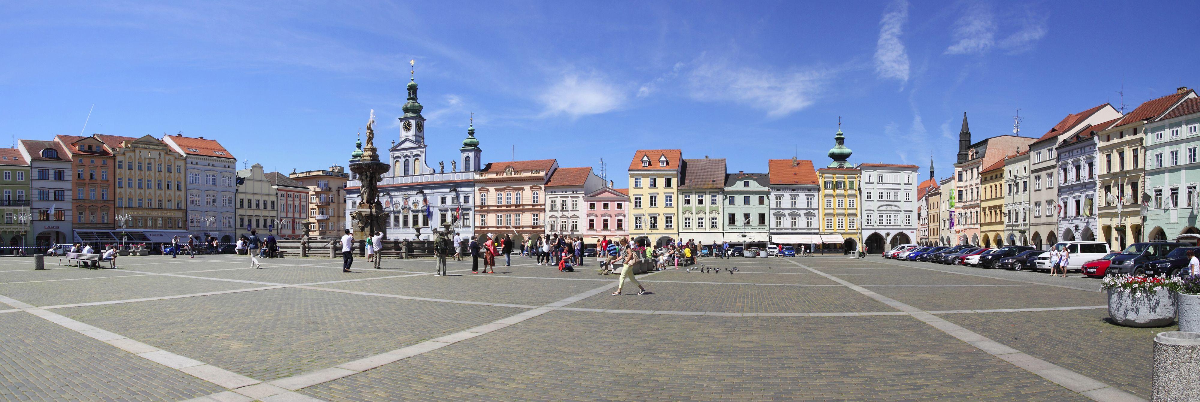 Marktplatz mit Samsonbrunnen, Budweis