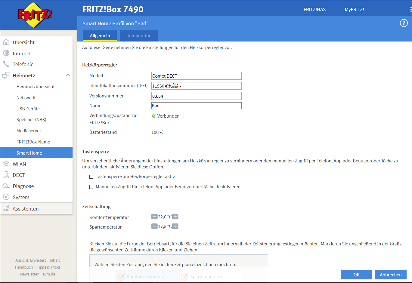 Fritz!Box Smarthome Heizung
