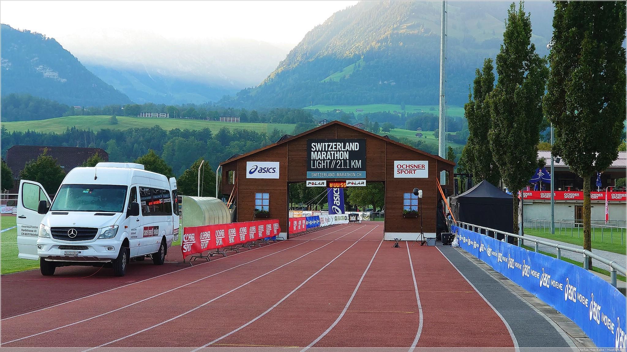 der Zieleinlauf am Morgen vor dem Rennen
